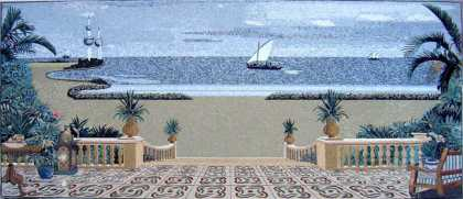 CR255 Beautiful palm tree patio overlooking the sea Mosaic