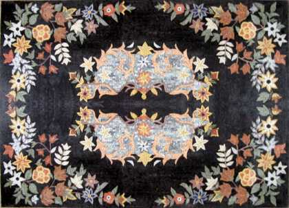 CR256 Colorful Symmetry Floral on Black Floor