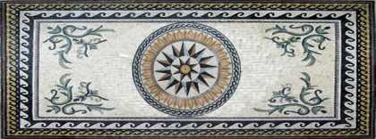CR257 Beautiful compass flower mosaic with wave border