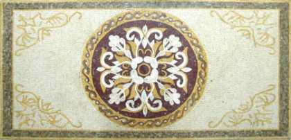 CR258 Cream yellow white & burgundy floral design Mosaic