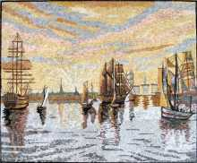 CR262 Beautiful sunset ship painting Mosaic