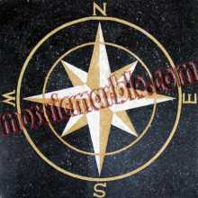CR319 Gold on black compass star Mosaic