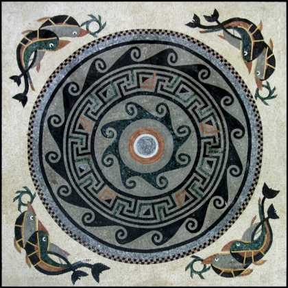 CR339 Medallion Surrounded by Dolphins Mosaic