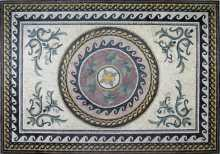 CR35 Central roman leaves design with braided border mosaic