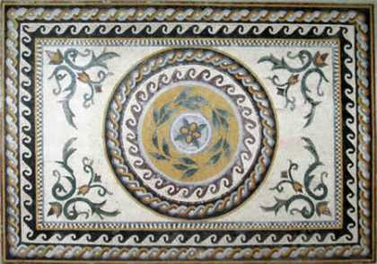 CR37 Central roman leaves design with braided border Mosaic