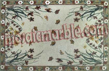 CR388 Colorful flowers and butterflies carpet Mosaic