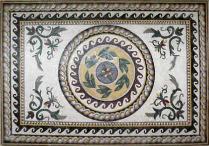 CR39 Decorative roman leaves & flowers mosaic carpet