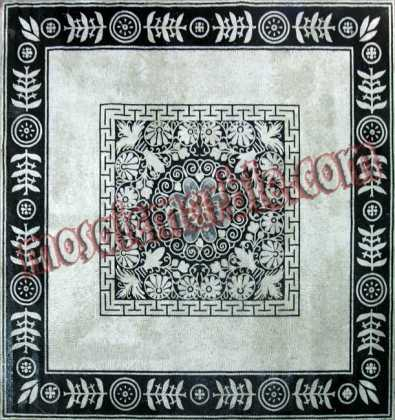 Black & White Floral Square Floor Mosaic