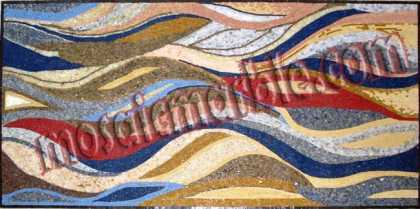 Rectangular Multicolor Waves Floor Mosaic