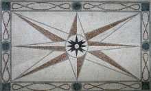CR49 Big compass star with elegant border Mosaic