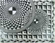 Black and White Rotating Illusion Mosaic
