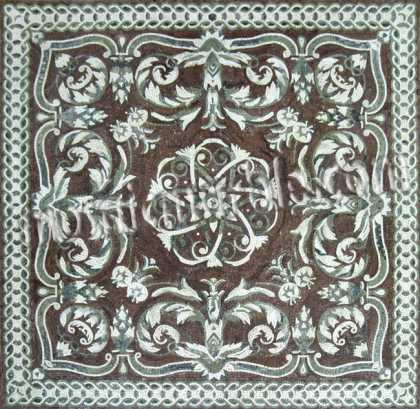 CR541 Artistic dark brown & white floral design Mosaic