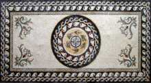 CR66 Oval central roman leaves medallion Mosaic