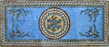 CR87 Central Cream Yellow Medallion on Blue Mosaic