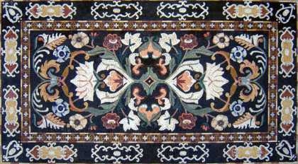 CR97 Royal floral design carpet on black backgrounf Mosaic