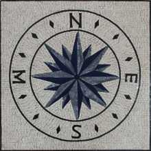 Floor Mosaic Compass Grey and Blue