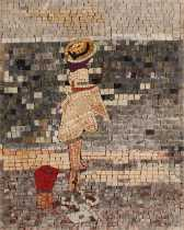 FG1019 Cute Little Gil by the Sea Mural Marble Mosaic