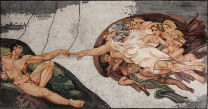 The Creation of Adam Michelangelo  Mosaic