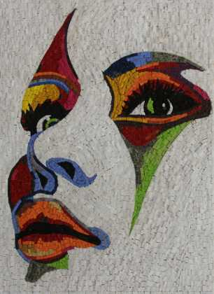 FG1078 Artistic Colorful Lady Portrait Wall Art Marble Mosaic