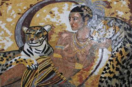 Karl Bang Sensual Art Lady with Leopards Mosaic