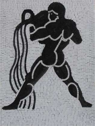 FG1085 Strong Man Silhouette Plain Background  Mosaic