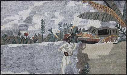 FG1090 Beautiful African Lady On The River Home  Mosaic