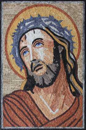 Crown of Thorns on Jesus Christ Religious Art Mosaic