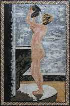 Framed Nude Lady Bathing Mosaic