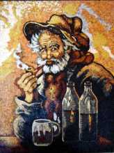 Tobacco Pipe and Beer Mosaic