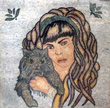 FG167 Woman and Cat Mosaic