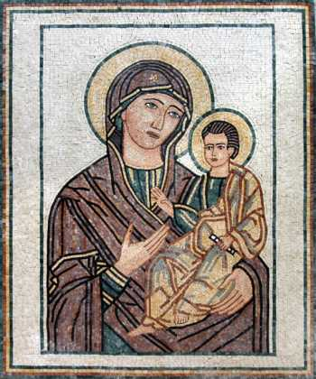 Mary mother of Jesus Religious Icon Mosaic