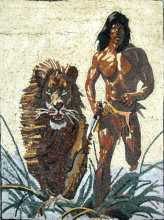 Tarzan and Lion Mosaic