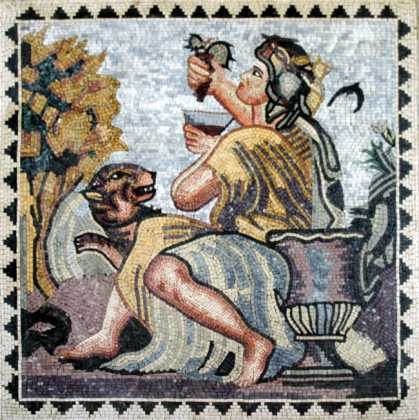 Man Holding Grapes Drinking Wine Square Mosaic