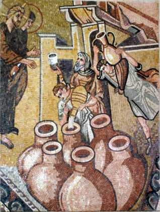 Jesus Water into Wine Miracle at Cana Religious Mosaic