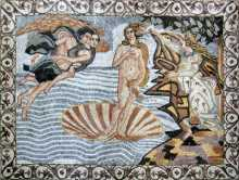 The Birth of Venus with Floral Frame Mosaic