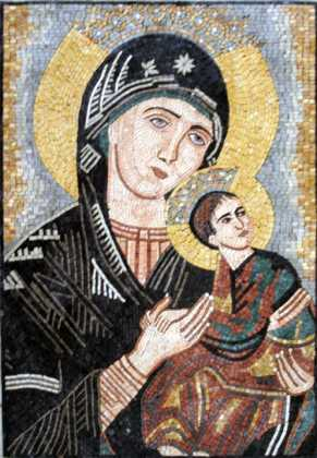 Virgin Mary and Jesus Icon Religious Mosaic