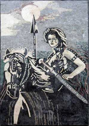 Lady Warrior Greyscale Mosaic