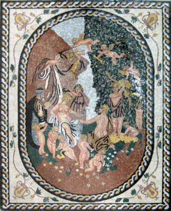 Cybele & the Seasons in a Garland of Fruit  Mosaic