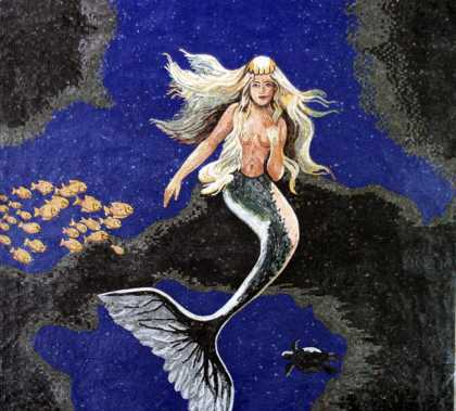 Mermaid in Deep Blue Sea Sqaure Mosaic