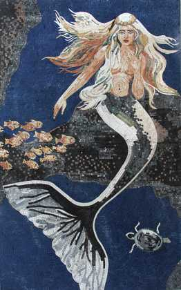 Mermaid in Deep Blue Sea Mosaic