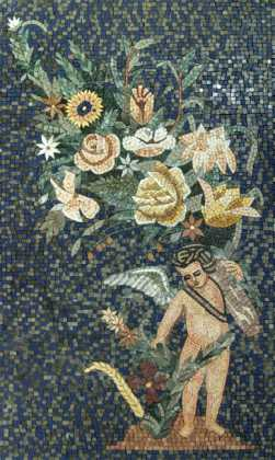 Cupid with Flowers Renaissance Mosaic