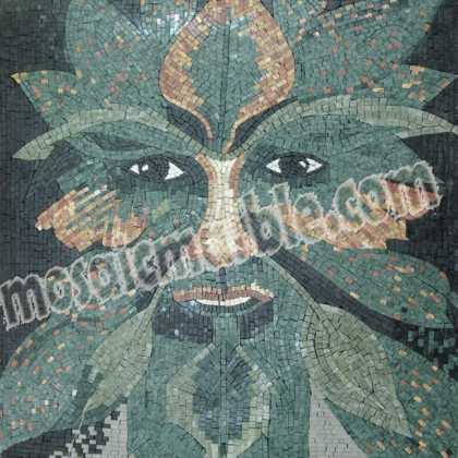 Green Man Foliate Motif Spirit of the Forest  Mosaic