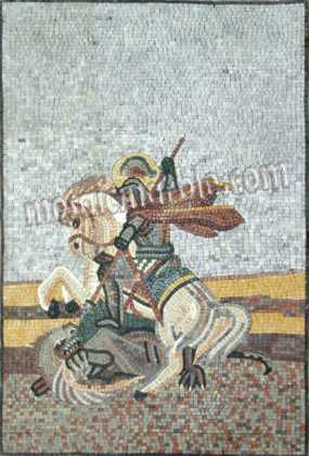 St. George Slaying the Dragon Religious Mosaic