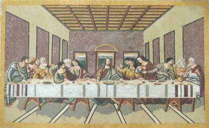 The Last Supper with Yellow Border Religious  Mosaic
