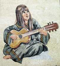 FG62 Guitar Playing Woman Mosaic