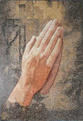Praying Hands with Cross Religious Mosaic
