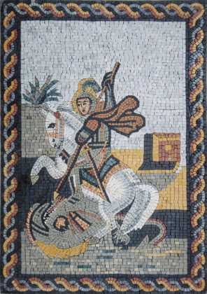 St. George Slaying Dragon Rope Border Mosaic