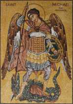 Saint Michael Archangel Religious Wall Art  Mosaic