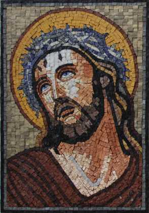Jesus Wearing the Crown of Thorns Religious Mosaic