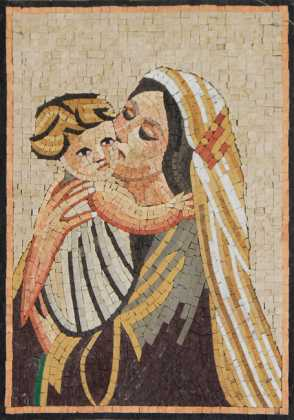 Virgin Mary Hugging Baby Jesus Icon Religious Mosaic
